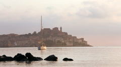 View across the water morning Portoferraio Elba Tuscany Stock Footage