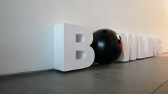 Bowling large letters, still life Stock Footage