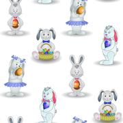 Seamless pattern, rabbits with easter egg Stock Illustration