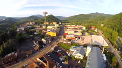 Aerial drone Gatlinburg low flyover 5 Stock Footage