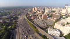 Downtown Atlanta I20 traffic aerial video Stock Footage