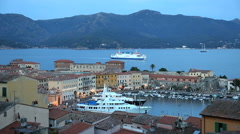Coastal ferry Portoferraio harbour yacht Elba Tuscany Italy Stock Footage