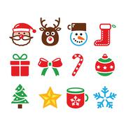 Christmas colorful icons set - Santa, present, tree, Rudolf Stock Illustration