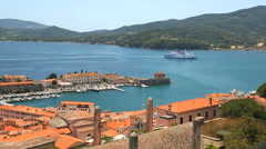 Coastal ferry Portoferraio harbour Elba Tuscany Italy Stock Footage
