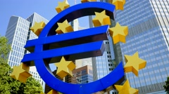 euro currency sign.  european central bank. frankfurt am main - stock footage
