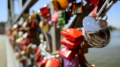 locks. locked. love romantic couple. togetherness. promises. memories - stock footage