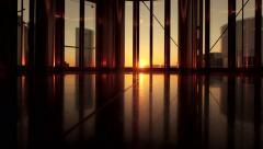 Inside modern company office building. real estate. city urban skyline Stock Footage