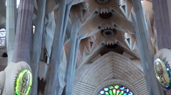 Types of Sagrada Familia church. The interiors. Barcelona, Spain. Stock Footage