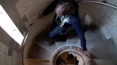 Tourist girl inside of the Nativity tower of Sagrada Familia church. Stock Footage