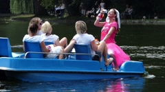 Bachelor Bachelorette Bridal party Bride and friends enjoy time before Single - stock footage