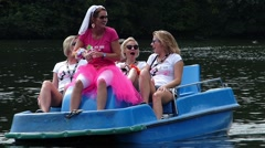 Bachelor Bachelorette Bridal party Bride and friends enjoy time before Single Stock Footage
