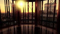 Inside luxury office building. skyline skyscrapers. urban cityscape. real estate Stock Footage