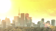 Toronto skyline timelapse with sun and flare Stock Footage