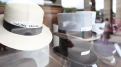 Classic panama male hats in shop Stock Footage