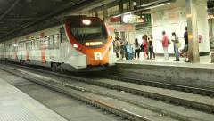 Train entering platform - subway - metro - underground Stock Footage