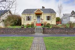 house exterior with landscape - stock photo