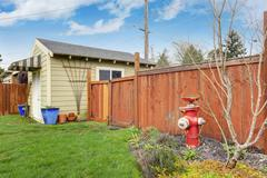 House backyard with shed Stock Photos