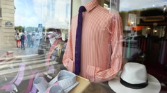 Male accessories shop in France Stock Footage
