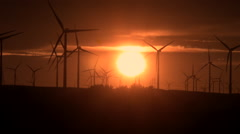 California Sunset behind Windmills Alternative Energy - stock footage