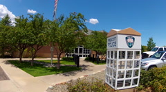 Prescott Arizona Police Department Front Entrance And Sign Stock Footage