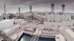 Aerial view of an Industry  in Barcelona, Spain. Slow motion 60 fps Stock Footage