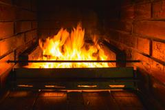 flame fire fireplace - stock photo
