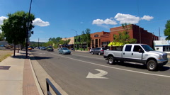 Traffic In Downtown Prescott Arizona Past Historic Shops Stock Footage