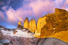 Beautiful sunrise in torres del paine national park, patagonia, chile Stock Photos