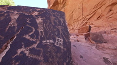 Native American Rock Art Petroglyphs Moab Utah Detail Along a Trail at Creek Stock Footage
