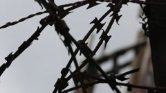 Closeup of Decaying Razor Wire Stock Footage