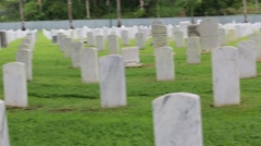Pan Shot Left to Right of US Military Cemetery Stock Footage