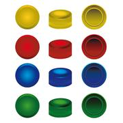 four colors plastic caps from pet bottles - stock illustration