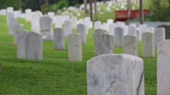 Focus Shift to Gravestones in a Military Cemetery Stock Footage