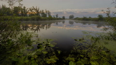 Sunrise on the lake, sunrise over river, morning Landscape, 4k Stock Footage