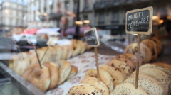 Buns and bagels in French bakery Stock Footage