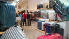 Travelbags and cases store - stock footage