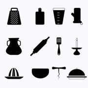 Black vector icons for kitchenware - stock illustration