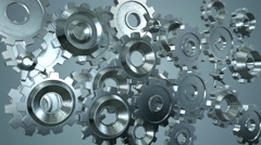 3d Animated Gears, Rotating metallic gearwheels Stock Footage