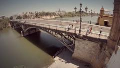 Aerial view of Triana's bridge. Seville, Spain. Stock Footage