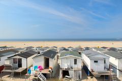 Beach huts in holland Stock Photos