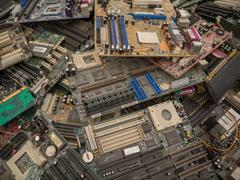 junk motherboards close up scene - stock photo