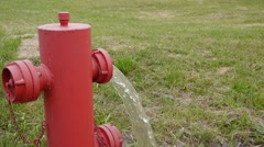 Fire hydrant low pressure Stock Footage