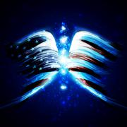 Abstract angel wings with american flag Piirros