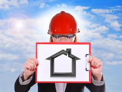 clipboard with house - stock illustration