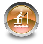 icon, button, pictogram fishing pier - stock illustration