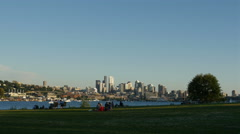 Summer picnic at Gasworks Park in Seattle Stock Footage