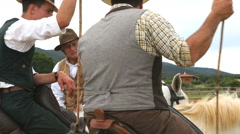 Tuscan cowboys Buttero horse men Tuscany Italy - stock footage