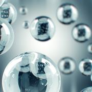 Futuristic Silver Bubbles with white matte alpha channel Stock Illustration