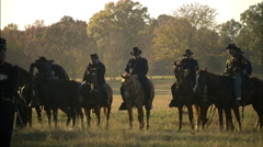 Union Officer's on horses Stock Footage