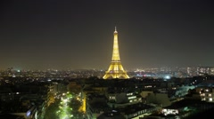 Eiffel Tower in Paris France Time Lapsed at night #29 Stock Footage